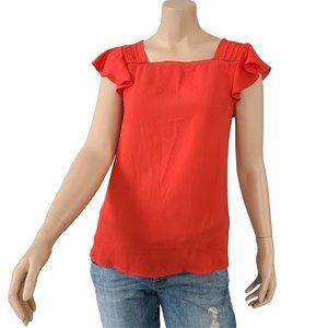 NWT RW&CO Red Flutter Sleeve Top XS